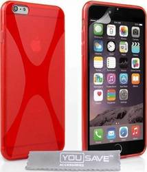 YouSave Accessories Silicone Gel X-Line Case Red (iPhone 6/6s Plus)