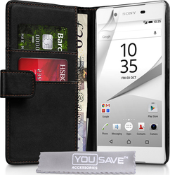 YouSave Accessories Leather-Effect Wallet Case Black (Xperia Z5)