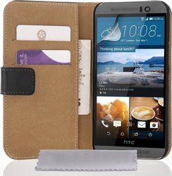 YouSave Accessories Real Leather Wallet Case Black (One M9)