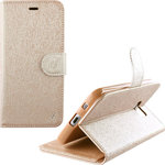 OEM Leather TPU Book Stand Gold (Galaxy J3 2016)