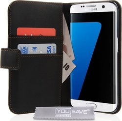 YouSave Accessories Leather-Effect Wallet Μαύρο (Galaxy S7 Edge)