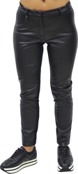 ARMANI JEANS SKINNY FIT LEATHER EFFECT TROUSERS BLACK