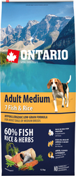 Ontario Adult Medium 7 Fish & Rice 12kg
