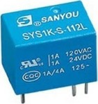 RELAY SUBMINIATURE 1P 12V DC 1A SYS1K-S-112D SAN