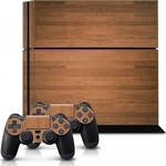 KW Sticker Skin Protector Wood Console & Dualshock PS4