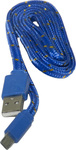 OEM Braided USB 2.0 to micro USB Cable Μπλε 1m (31092404)