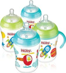 Nuby Natural Touch Σετ Πλαστικά Μπιμπερό Blue/Green 4τμχ 270ml