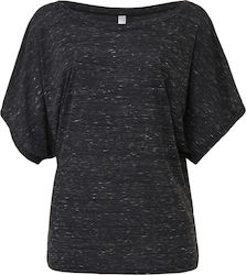 Flowy Draped Sleeve Dolman T-Shirt Bella 8821 - Charcoal Marble