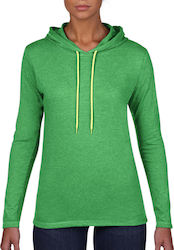 Womens Fashion Basic LS Hooded Tee Anvil 887L - Heather Green/Neon Yellow