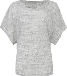 Flowy Draped Sleeve Dolman T-Shirt Bella 8821 - White Marble