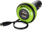 Boompods Carpod In-car 3-Device Micro-USB Charger 4Ah Green