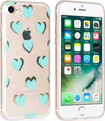 YouSave Accessories Back Cover Σιλικόνης Green Hearts (iPhone 8/7)