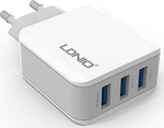 Ldnio 3x USB Wall Adapter Λευκό (A3301)