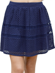 SUPERDRY GEO LACE MIX SKATER SKIRT NAVY WOMAN