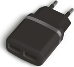 Powertech 2x USB Wall Adapter Μαύρο (PT-416)