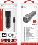 4-OK Car Charger 2 Usb Port & Micro-USB Cable BLUS38