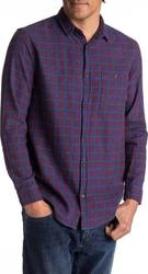 QUIKSILVER PHASER SETTING FLANNEL LS SHIRT POMEGRANITE