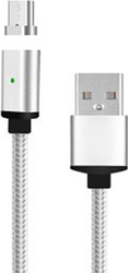 Media-Tech Braided Magnetic USB 2.0 to micro USB Cable Γκρι 1m (MT5106)