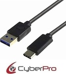 CyberPro Regular USB 3.0 Cable USB-C male - USB-A male Μαύρο 1m (CP-UC310)
