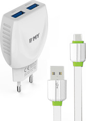 Emy Power 2x micro USB Cable & Wall Adapter Λευκό (MY-221)
