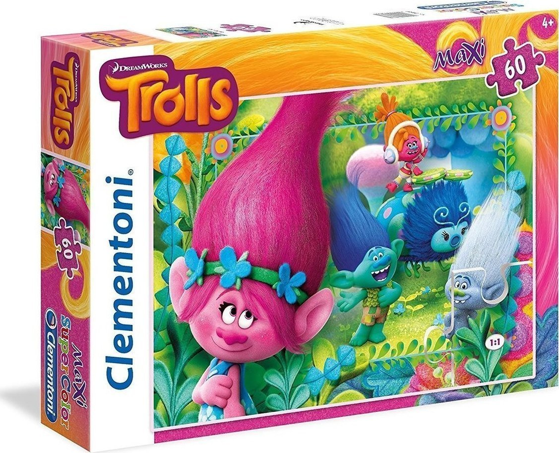 ... Maxi Super Kolor Trolls You're invited to this party 60pcs (26586)  Clementoni