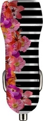 Benjamins Car Charger 3.1A Dual USB Flower Stripes