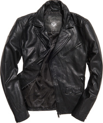 Superdry Washed Leather Slim Moto Jacket Black