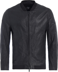 Superdry Washed Leather Bomber Black
