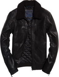 Superdry IE Iconic Sherpa Collar Leather Flight Black