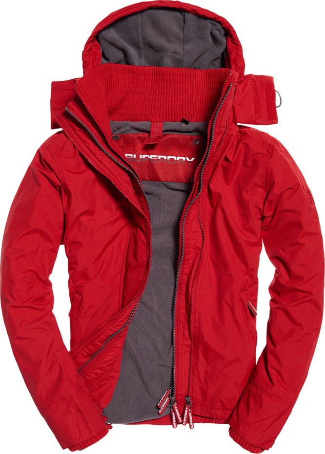 Superdry Pop Zip Hooded Arctic SD-Windcheater Jacket Deep Red Steel ... ddd3b4c881d
