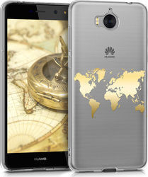 KW Back Cover World Map Outline Gold (Huawei Y6 2017)