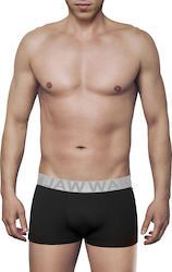 MEN'S BOXER BAMBOO BRIEF WITH EXTERNAL WAISTBAND ΜΑΥΡΟ- ΑΣΗΜΙ - W1770