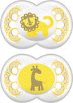 Mam Clearline Σιλικόνης Yellow Lion & Giraffe 6-16m 2τμχ