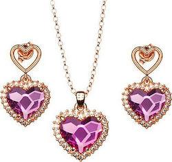 Προσθήκη στα αγαπημένα menu Σέτ κολιέ και σκουλαρίκια συλλογή Love καρδιές  από ρόζ επιχρυσωμένο ασήμι με πέτρες Swarovski 77c16ac2b04