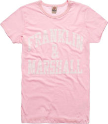 FRANKLIN and MARSHALL JERSEY ROUND NECK SHORT T-SHIRT ΓΥΝΑΙΚΕΙΟ FRANKLIN & MARSHALL ΡΟΖ (TSWF585ANS18)