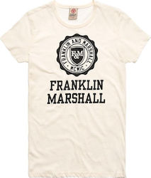 FRANKLIN and MARSHALL JERSEY ROUND NECK SHORT T-SHIRT ΓΥΝΑΙΚΕΙΟ FRANKLIN & MARSHALL ΛΕΥΚΟ (TSWF586ANS18)