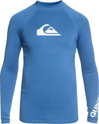 RASHGUARD QUIKSILVER Boys 8 -16 All Time Short Sleeve UPF 50 Electric Blue