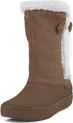 Suede Button Boot W Crocs (Modessa Suede Camel)