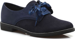Suede oxford με σατέν κορδόνια και τρους στη σόλα YT-21 ΜΠΛΕ