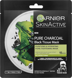 Garnier SkinActive Pure Charcoal Black Tissue Mask with Black Algae Extract, LHA & Hyaluronic Acid 28gr
