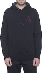 HUF TRIPLE TRIANGLE OVER DYE PULLOVER HOODIE BLACK