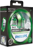 Philips H4 ColorVision Green Car +60% 12V 2τμχ