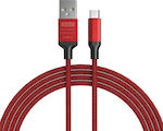 GOLF Braided USB 2.0 to micro USB Cable Κόκκινο 1m (GC-52M-RD)