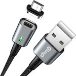 Braided / Magnetic USB 2.0 to micro USB Cable Μαύρο 1m (Elough E05)