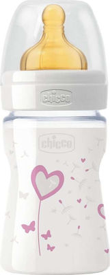 Chicco Γυάλινο Μπιμπερό Vetro Glass Well Being Pink Heart 0m+ 150ml