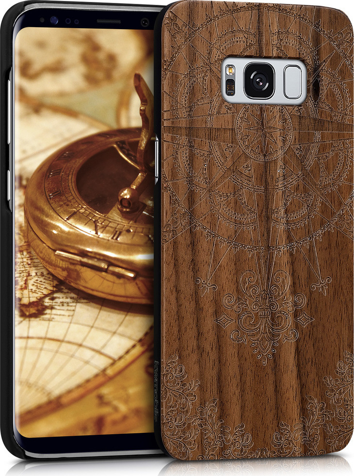 KW Compass Baroque Ξύλινο Back Cover Dark Brown (Galaxy S8)