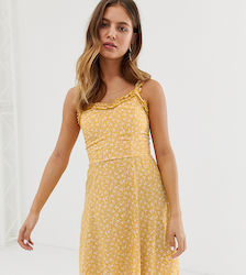 85ce94048 New Look sundress with ruffle edge in yellow ditsy floral print - Yellow  pattern