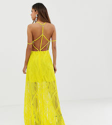 8dfa735f33f ASOS DESIGN maxi dress in lace cutwork with strappy back and metal ring  detail - Chartreuse