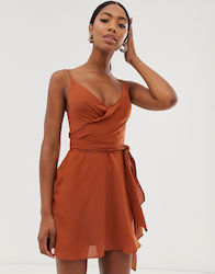 ASOS DESIGN cami wrap mini dress with tie waist-Orange