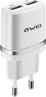 Awei 2x USB Wall Adapter Ασημί (C930)